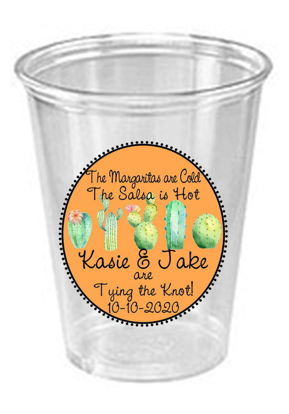 Fiesta Party Personalized Cups,Engagement Party Cups, Cactus custom Cups,Cactus Party Cups,Personalized Clear Solo Cups, wedding cups