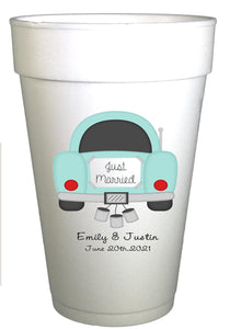 Just Married Personalized Wedding Cups-Wedding Day After Party Cups-Preppy Mama
