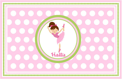 Brown Haired Ballerina Personalized Placemat - Preppy Mama