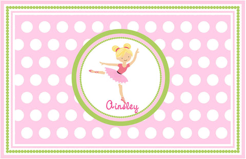 Blonde Haired Ballerina Personalized Placemat - Preppy Mama