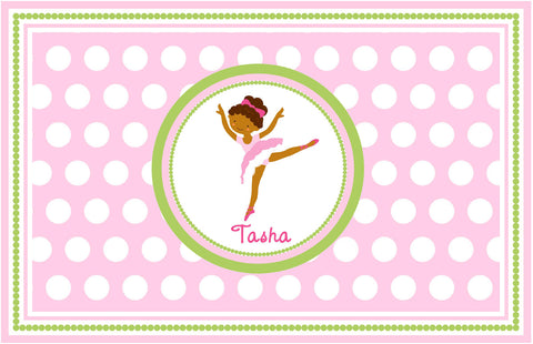 Black Haired Ballerina Personalized Placemat - Preppy Mama
