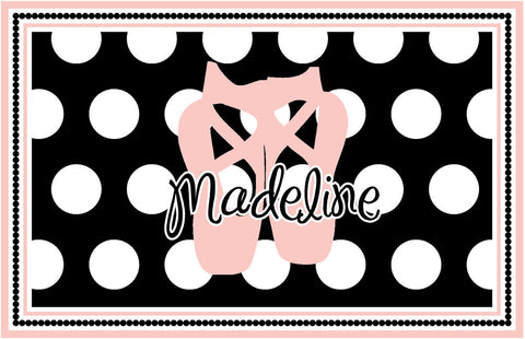 Pink Dance Slippers Personalized Placemat - Preppy Mama