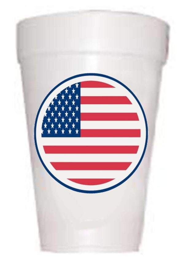red white and blue circular flag on styrofoam cup