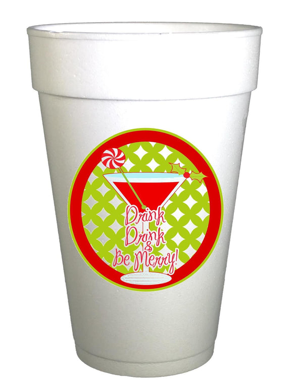 Drink and Be Merry Christmas Cups - Preppy Mama