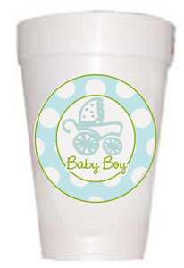 Boy in Baby Carriage with Polka Dots Cups - Preppy Mama