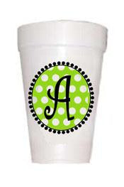 Lime Dot Initial Cups