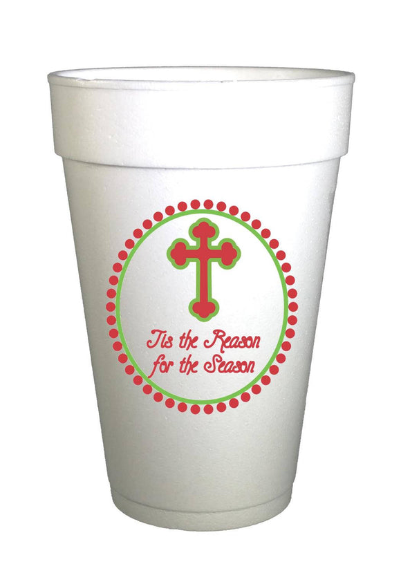 Tis the Reason Cross Christmas  Styrofoam Cups -10 each 16oz