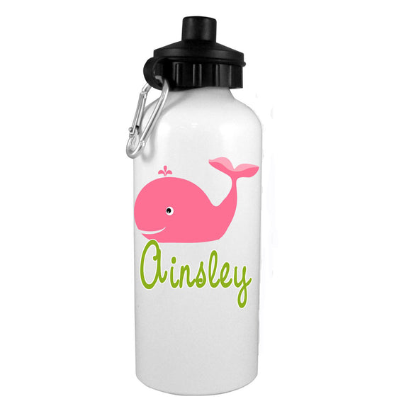 Preppy Whale w/ Name Water Bottle - Preppy Mama
