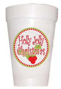 Holly Jolly Christmas Styrofoam Cups -10 each 16oz