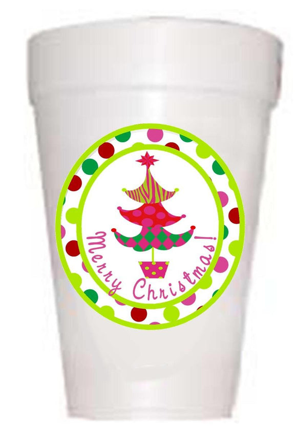 Merry Christmas Tree Pink Holiday Styrofoam Cups