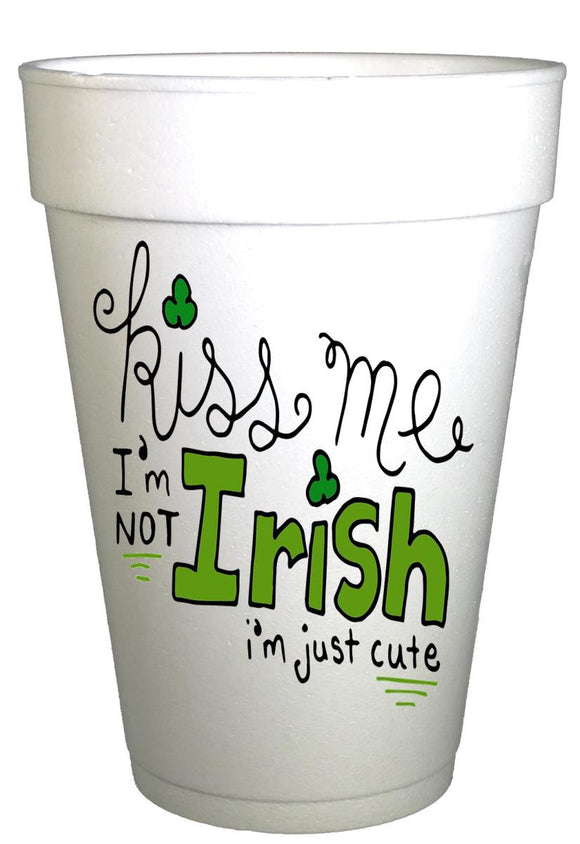 St Patricks Day Kiss Me I'm Irish Styrofoam Party Cups