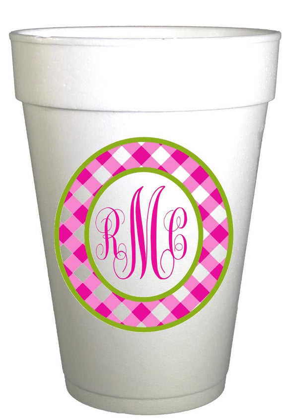 Personalized Gingham Cups-Custom Monogrammed Cups-Preppy Mama