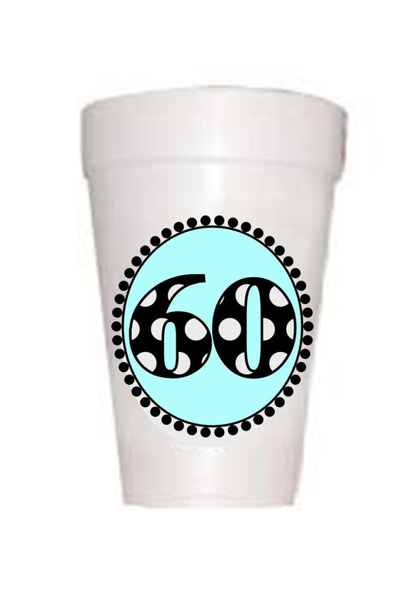 60th Birthday Styrofoam Cups in blue with black polka dots