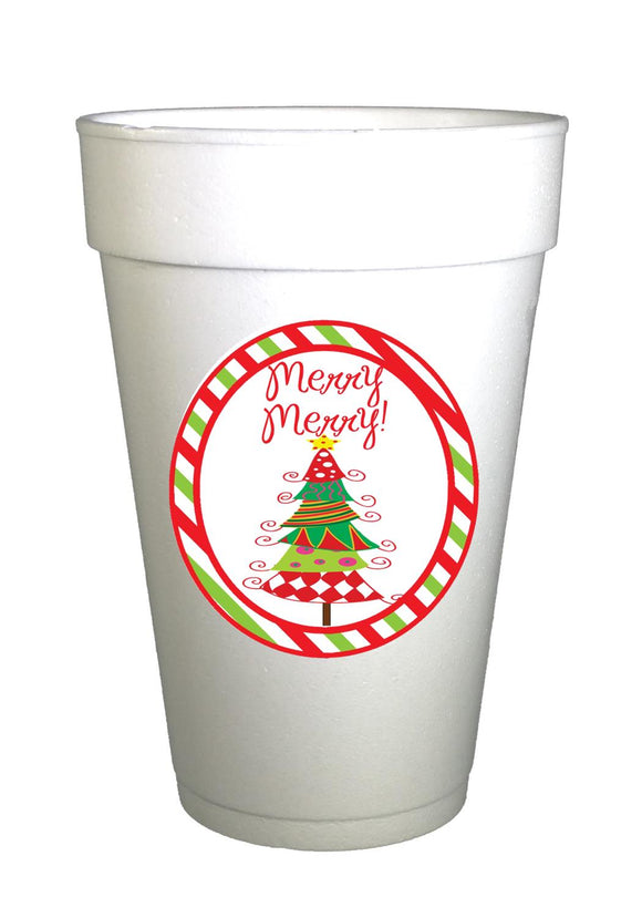 Merry Merry Christmas Tree Styrofoam Cups