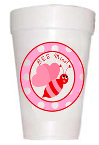 Bee Mine Valentine Styrofoam Party Cups - Preppy Mama