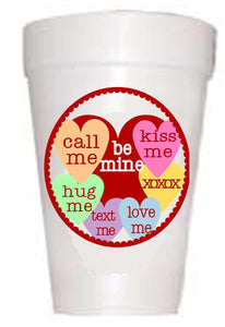 Valentines Heart Sayings Party Cups