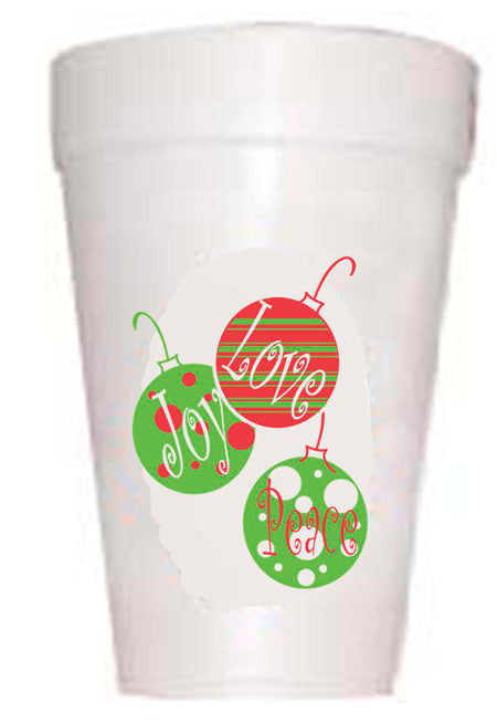 Love Joy and Peace Christmas Ornaments Cups