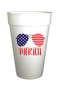 Merica Patriotic Sunglasses-4th of July Cups-Pre-Printed Styrofoam Cups