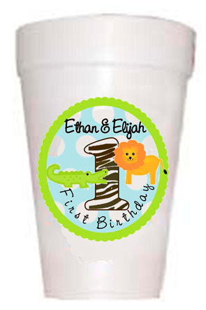 Personalized First Birthday Party Custom Cups-Alligators and Lion-Kids Party Custom Cup