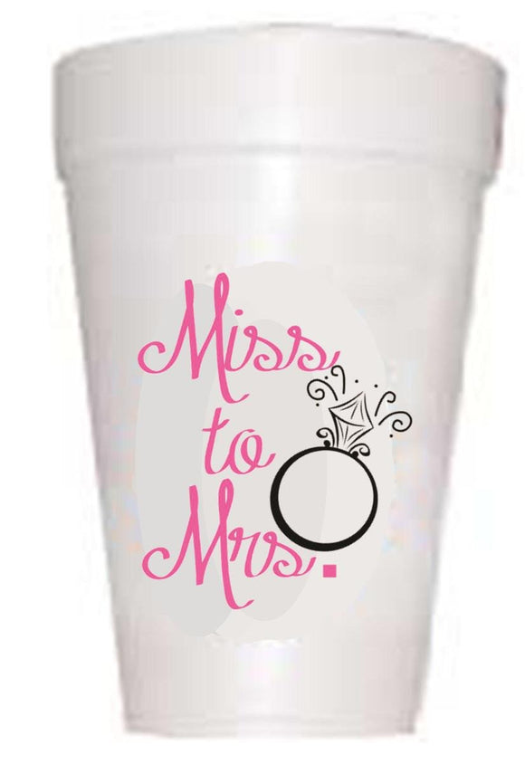 'Miss to Mrs.' Wedding Styrofoam Cups - Preppy Mama