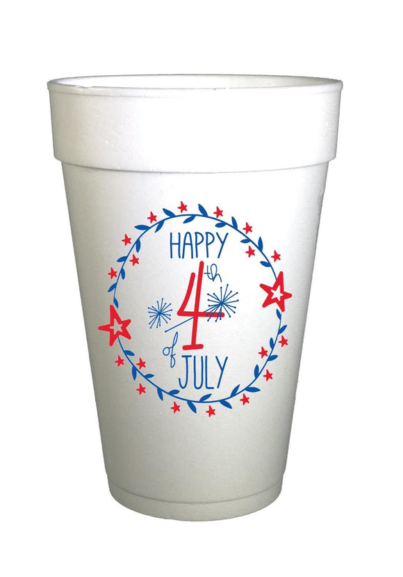 styrofoam cup with red and blue happy 4th of july