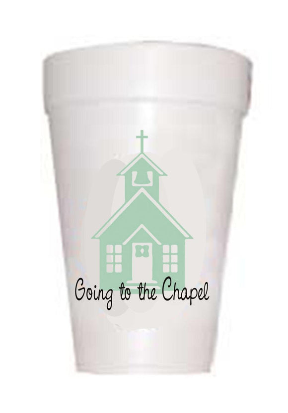 blue chapel with text going to chapel on styrofoam cup