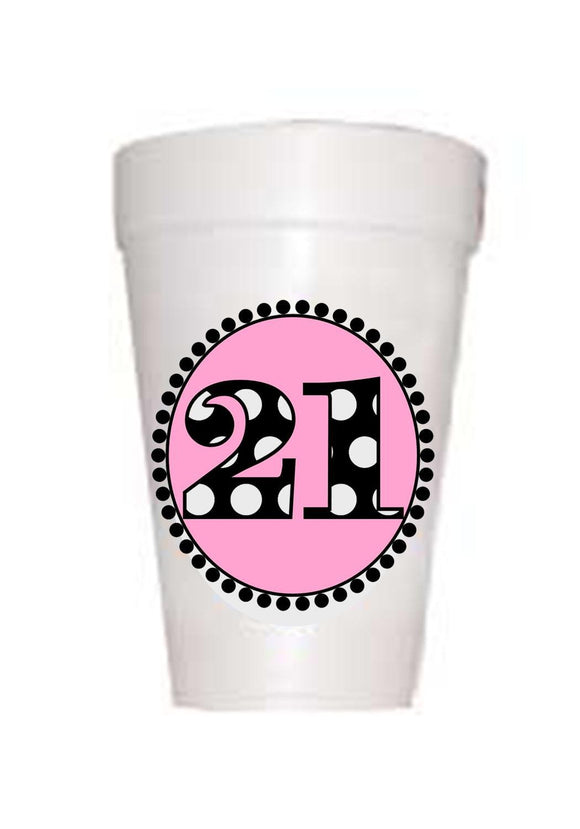21st Birthday Styrofoam Cups in Pink with black polka dot 21