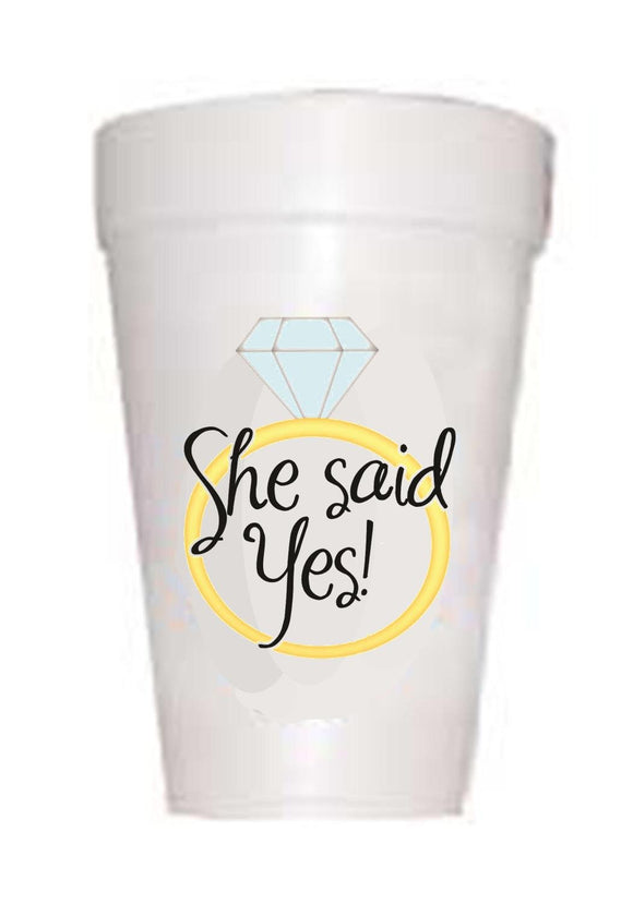 'She Said Yes' Wedding Styrofoam Cups - Preppy Mama