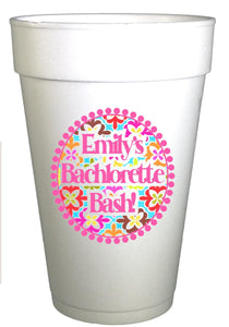 Bachelorette Personalized Cups-medallion,Engagement Party Cups, Custom Cups, Bachelorette Party Cups,Personalized Foam Cups, wedding cups - Preppy Mama