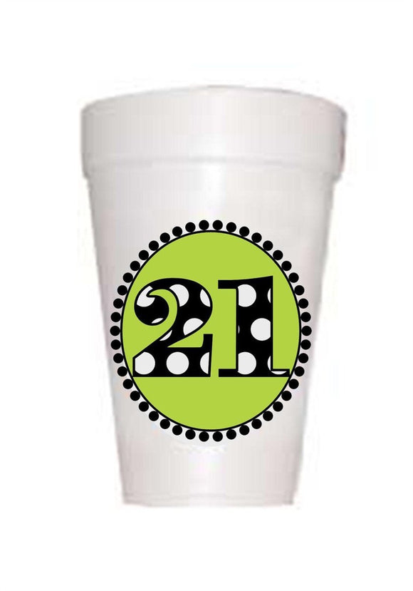 21st Birthday Styrofoam Cups in Lime with 21 in black polka dots