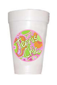 paisley tennis ball with tennis chic written on ball on styrofoam cup