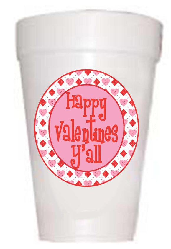 Happy Valentines Y'all Valentines Party Cups