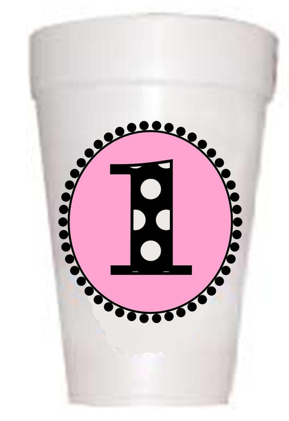 first birthday party cups in pink with black polka dots
