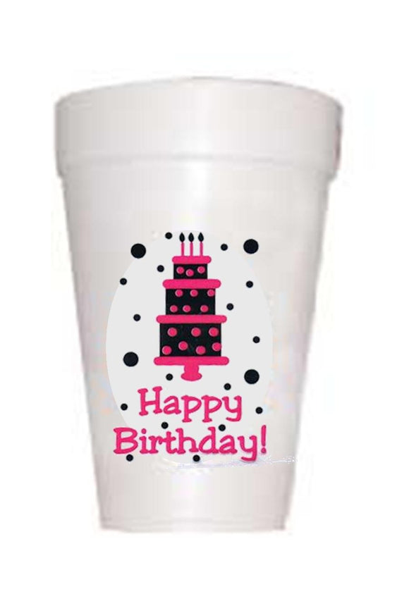 Black and Hot Pink Happy Birthday Styrofoam Cups