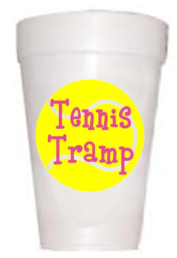 tennis ball with Tennis Tramps written on ball on styrofoam cup