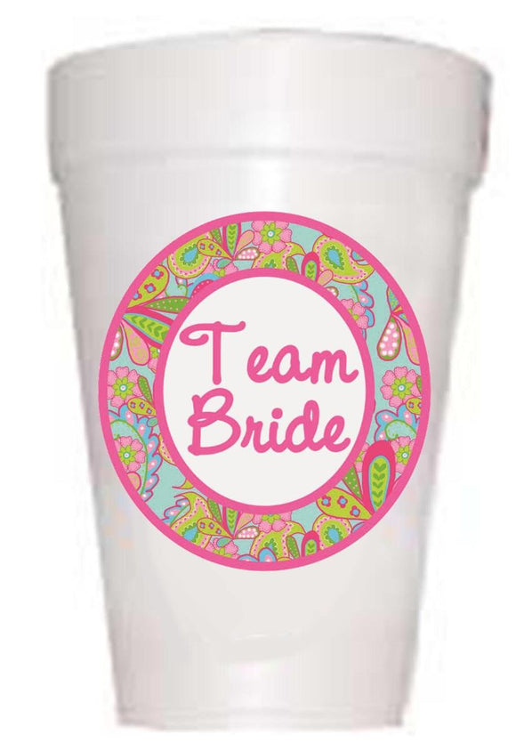 Cups with Team Bride and floral pattern
