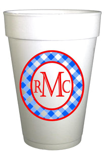 Personalized Gingham Monogrammed Birthday Cups-Custom Gingham Cups-Preppy Mama