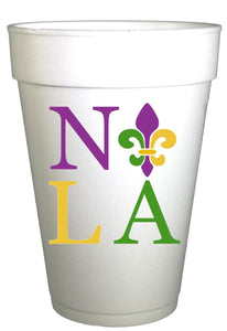 Mardi Gras NOLA Styrofoam Party Cups