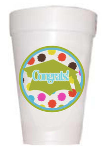 Graduation Congrats Multi-Dot Styrofoam Cups
