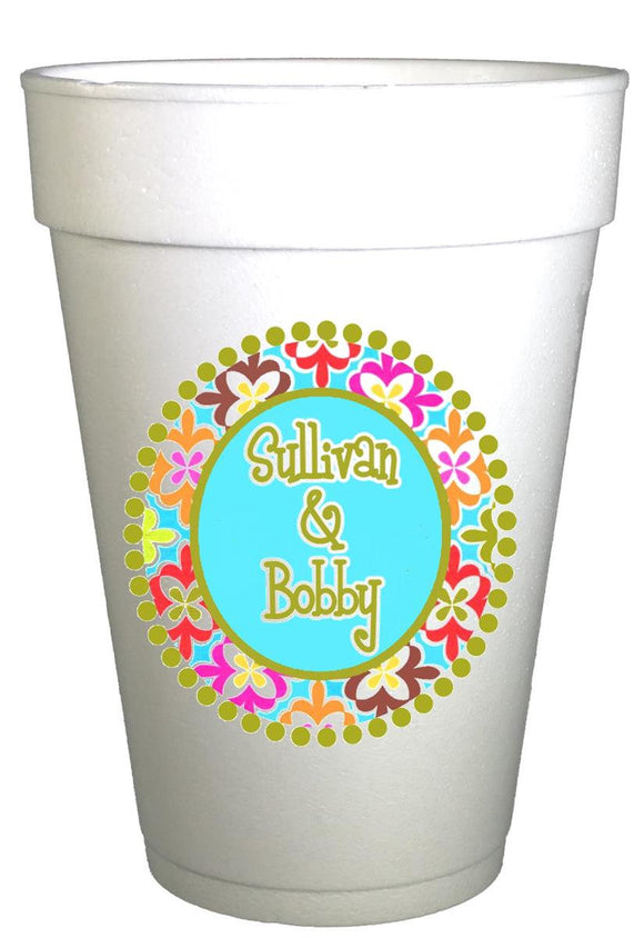 Custom Personalized Monogrammed Birthday Party Styrofoam Cups-Medallions Border-Preppy Mama