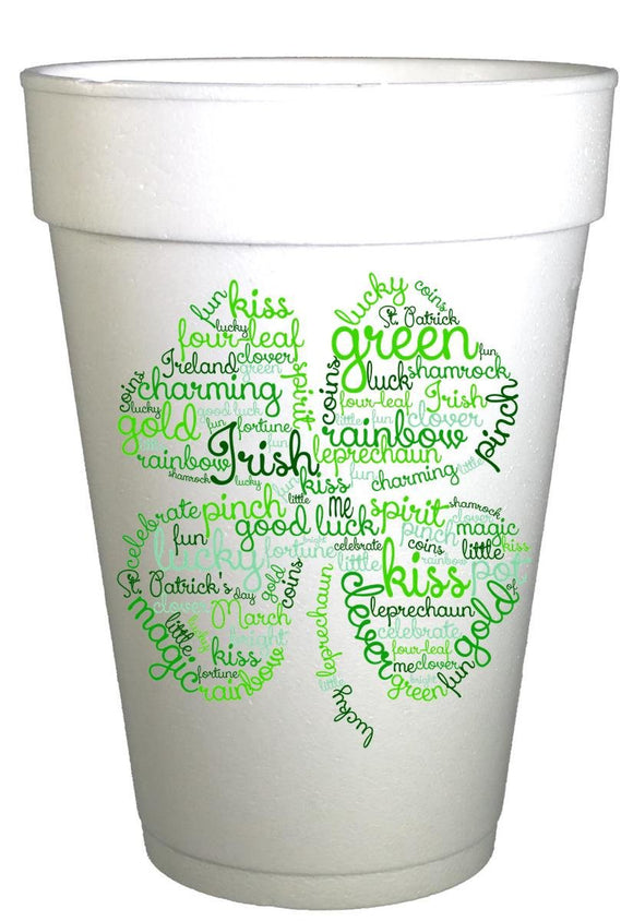 St Patricks Day Clover Sayings Styrofoam Cups