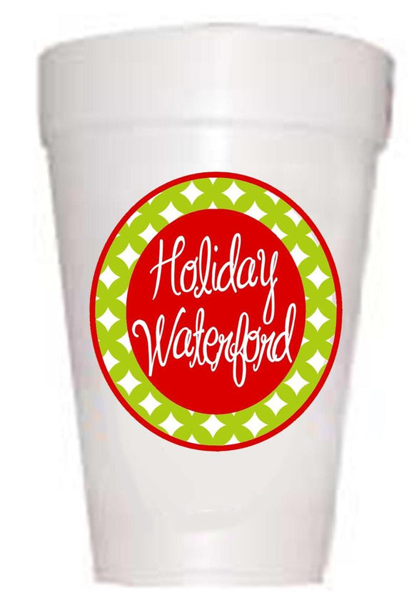 Holiday Waterford Styrofoam Cups