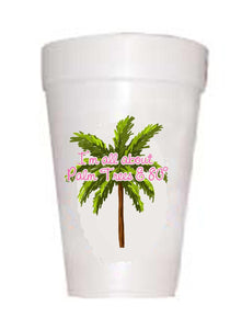 styrofoam cups with palm trees and 90