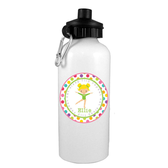 Blonde Gymnast Eat-Flip-Sleep-Repeat Personalized Water Bottle - Preppy Mama