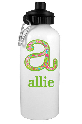 Paisley Initial Personalized Water Bottle - Preppy Mama