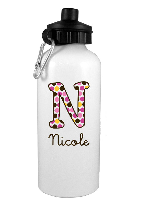Brown/Pink/Orange Polka Dot Personalized Water Bottle - Preppy Mama