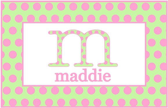 Green/Pink Initial Personalized Placemat - Preppy Mama