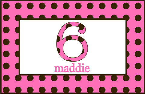 Pink/Brown Polka Dot  Personalized Placemat - Preppy Mama