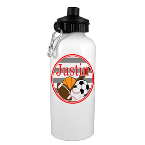 Sports Collection w/ Name Water Bottle - Preppy Mama