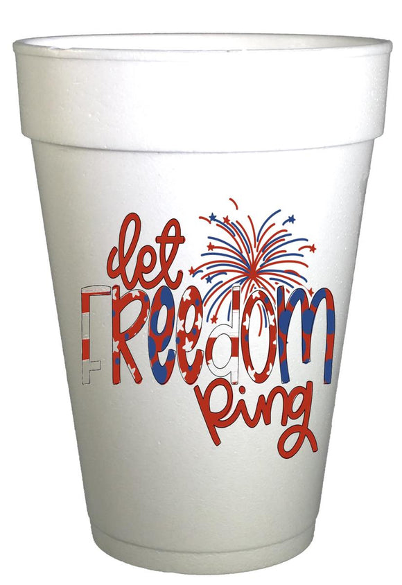 Let Freedom Ring Fireworks-July 4th Party Cups-Preprinted Styrofoam Cups